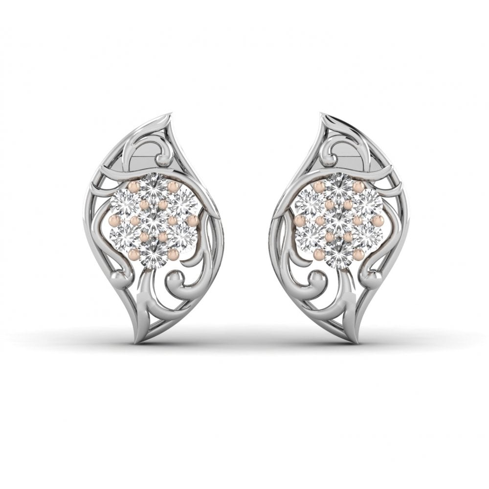 18k Vintage Style Diamond Earrings