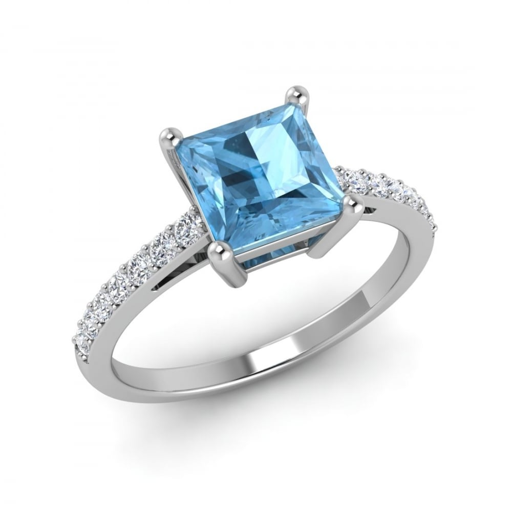 blue engagement white cushion and ring topaz gold rrp itm diamond
