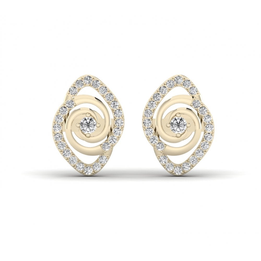 Coil Stud Diamond Earrings