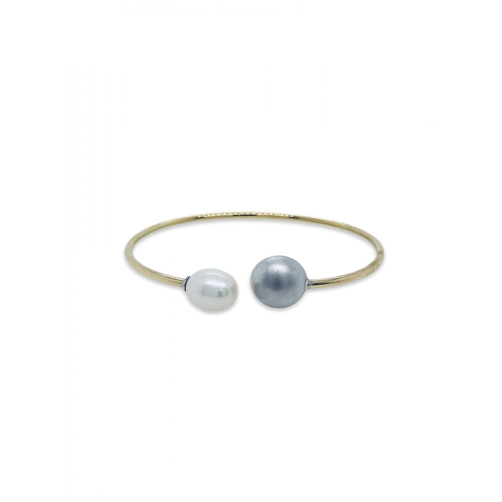 f45aa96a81628 Natural White Pearl White gold Cuff Bangle