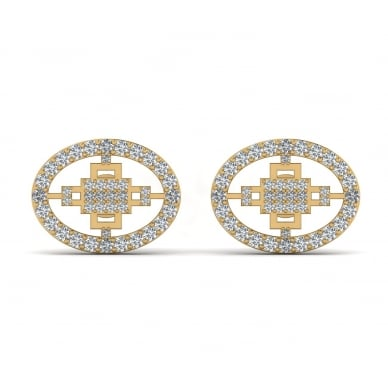 Unique Circle 18K Round Diamond Earring
